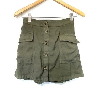 American Eagle olive green button front mink skirt